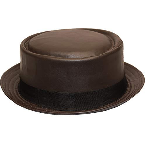 Pork Pie Faux Leather Pork Pie Fedora Hat (S/M, F1954BROWN)