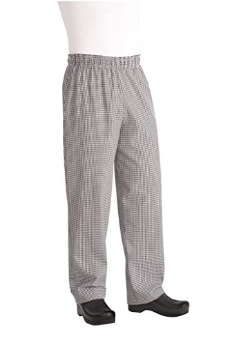Chef Works Men's Essential Baggy Zip-Fly Chef Pant, Black/White Checked, - Chef Checked Pants