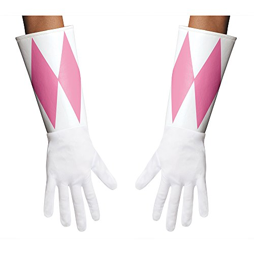 [Disguise Women's Pink Ranger Adult Gloves Costume Accessory, Pink, One Size] (Adult Pink Ranger Costumes)