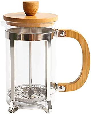 Cafetera de café de bambú de la prensa francesa en vidrio de ...