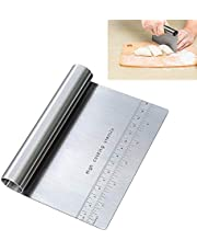 Pro Dough Pastry Scraper/Cutter/Chopper Stainless Steel Mirror Polished with Measuring Scale Multipurpose- Cake, Pizza Cutter - Pastry Bread Separator Scale Knife