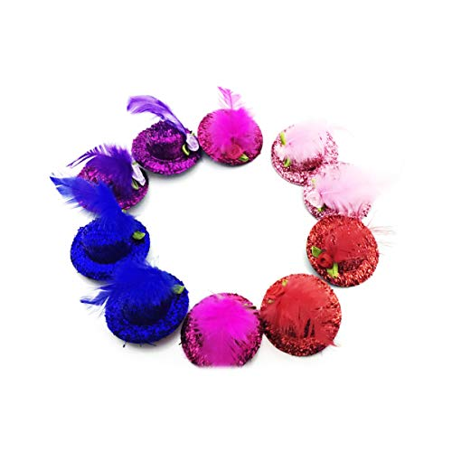 10PCS Sc0nni Baby Mini Top Hat Hair Clip/Girls Hair Accessories Fascinator Party Hats Dancing Cocktail Feather Headband Hair Clip. ()