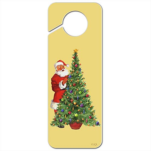 GRAPHICS & MORE Christmas Holiday Santa Decorating Tree Plastic Door Knob Hanger Sign - Image
