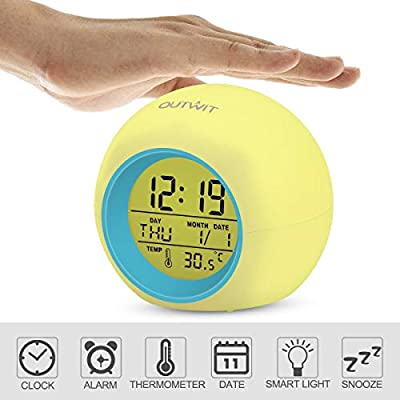 OUTWIT Kids Alarm Clock?Updated Version?, Wake Up Digital Clock for Kids, 7 Colors Changing Light Bedside Clock for Boys Girls Bedroom, with Indoor Temperature Calendar, Touch Control and Snoozing
