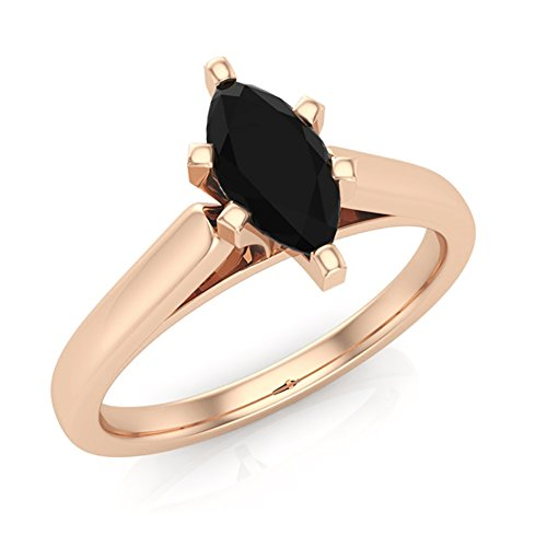 3/4 ct tw Natural Black Marquise Diamond Cathedral Setting Engagement Ring 14K Rose Gold (Ring Size (Cathedral Ring Setting)
