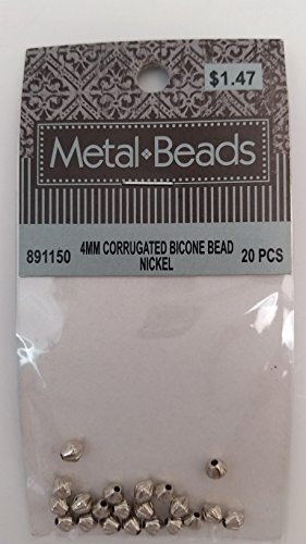 Hobby Lobby (R) Metal Beads Jewelry 4MM Corrugated Bicone Nickel Beads 20 (Metal Bicone)