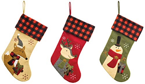 Hanna's Handiworks Christmas Pals Buffalo Plaid 18 Inch Christmas Stockings Assorted Set of 3 ()