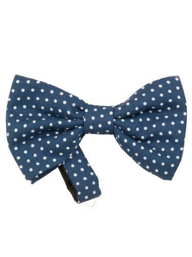 (Elizabetta Men's Italian Pre-Tied Blue Silk Polka Dot Bow Tie)