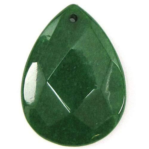 (2 Pieces 40mm Faceted Emerald Green Jade Flat Teardrop Bead Pendant)