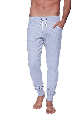 4-rth Men's Long Cuffed Perfection Yoga Pant (Small, Heather Grey) by 4-rth