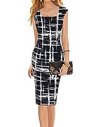 Faithtur Square Neck Sketch Stripes Print Bodycon Midi Knee Long Pencil Dress
