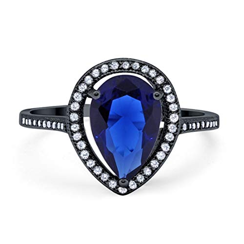 Halo Teardrop Pear Simulated Blue Sapphire Bridal Ring Black Tone 925 Sterling Silver, Size-6