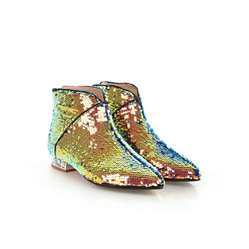 T-JULY Women Sequined Cloth Ankle Boots Fashion Pointed Toe Square Heels Shoes Woman Fashion Autumn Winter Boots Gold