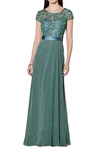 Blau Brautmutterkleider Gruen Abendkleider Spitze Chiffon Dunkel Festlichkleider mia Partykleider La Lang Braut Kurzarm w48EnUqC