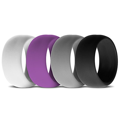 Silicone Wedding Rings for Women, Band – Set of 4 – Purple-White-Black-Grey – For Active Lifestyle, Active Women, Athletes Size 8