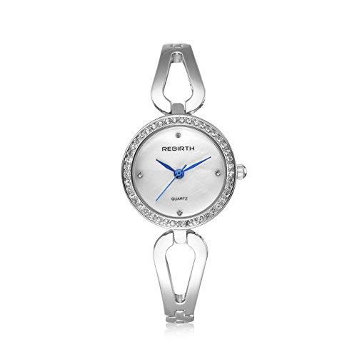 Top Plaza Women Ladies Elegant Luxury Alloy Bracelet Wristwatch Japanese Movement Rhinestones Decorated 30M Waterproof Analog Quartz Cuff Watch - Valentine's Day (Ladies Silver Bracelet Watch)