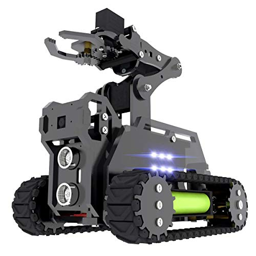 Gewbot RaspTank Robot Car Kit for Raspberry Pi 4 3 Model B+/B,WiFi Wireless Smart Tracked Robot with 4-DOF Robotic Arm,OpenCV Target Tracking,Raspberry Pi Robot with PDF(Raspberry Pi is Not Included)
