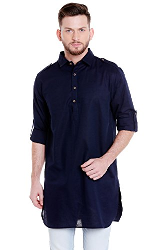 In-Sattva Men's Pullover Pathani Rollup Sleeve Kurta Tunic with Shoulder Strap; Navy Blue; LG