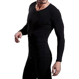 D&P Men\'s Thermal Underwear 2pc Set Shirt & Pants Cotton (L, Black)