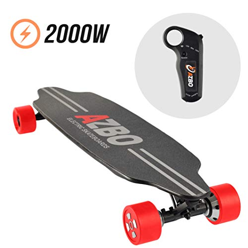 Electric Skateboard Longboard with Remote Control by AZBO | 2000W Dual Motor UL2272 Certified High Speed 25 MPH Motorized Wireless H6 Board | 18 Miles Max Range | LG Battery