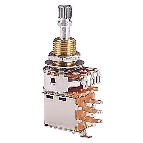 TOOGOO A500K PotencióMetro Push Pull Switch Splined Dpdt Pot Shaft ...