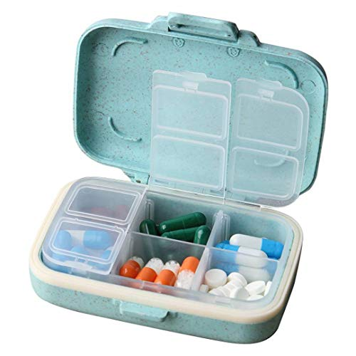 MOST ORIGINAL DESIGNM Small Pill Organizer 6 Day Portable Pill Case Cute for Purse BPA Free Food Grade Hard Plastic Material 6 Compartment Light Blue (Light Blue) (1) ()