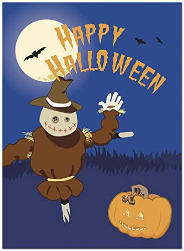 25 Halloween Cards - Scarecrow and Pumpkin Design - 26 White Envelopes - Eco Friendly