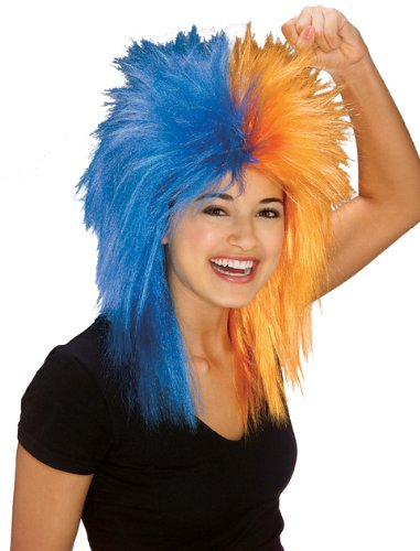 Rubie's Blue and Orange Sports Fan Wig, Black/Orange, One Size]()