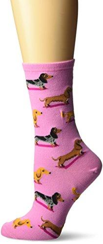 Hot Sox Women's Originals Fashion Crew Socks, Dachshunds (Pastel Pink), Shoe Size 4-10/Sock Size 9-11