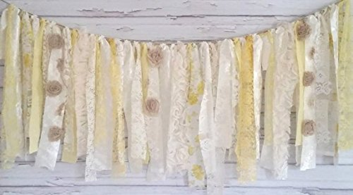 Yellow Garland Rag Tie Banner: ~ Photo Shoot ~ Wedding Decor ~ Birthday ~ Nursery ~ Baby Shower ~ Handmade ~ Gender Reveal Parties ~ Decorations ~ Photo Props ~ Wall Decor! (3 FEET WIDE)