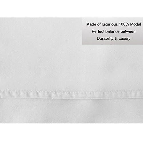 Cpekingface-Softest Modal-100% Natural Beech Wood-80sx80s 200x183 400Thread Count-Deep Pocket-Queen Size 4 Pieces White Modal Bed Sheet Set (White, Queen) by Cpekingface (Image #5)