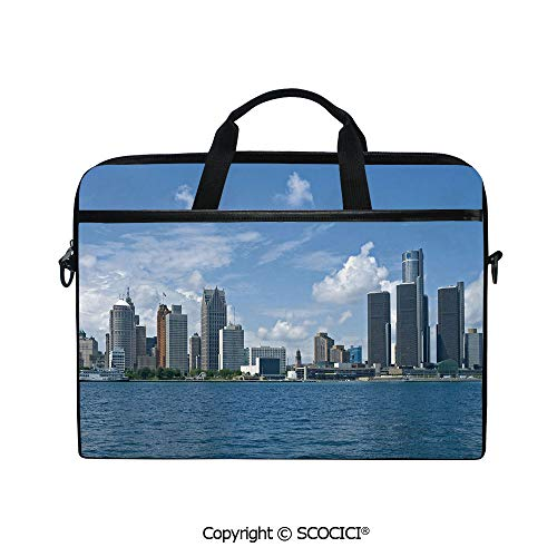 Personalized Laptop Bag 14-15 Inch Messenger Bag Downtown Detroit GM Renaissance Center Ford Auditorium Shoreline Shoulder Sleeve Case Tablet Briefcase