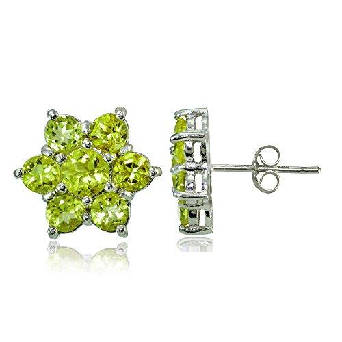 Sterling Silver Genuine Peridot Flower Stud Earrings