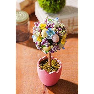 Cypress Home Potted Easter Egg Artificial Topiaries, Set of 2 5