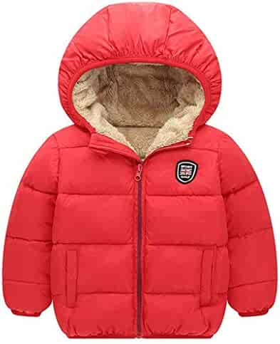 Kids Down Coat, Toddler Boys Girls Cotton Clothing Fleece Jacket Winter Outdoor Long Sleeve Warm Thick Hoodie Outwear