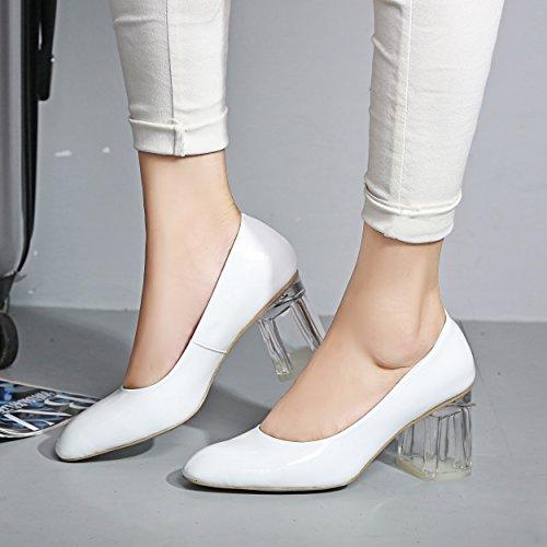 hexiajia - Zapatos Planos con Cordones mujer blanco