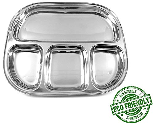 (Eco Friendly Stainless Steel Oval Shape 4 Compartment Dinner Lunch Plate, Mess Tray, Food Serving Thali Platter Dish - 13 inch)