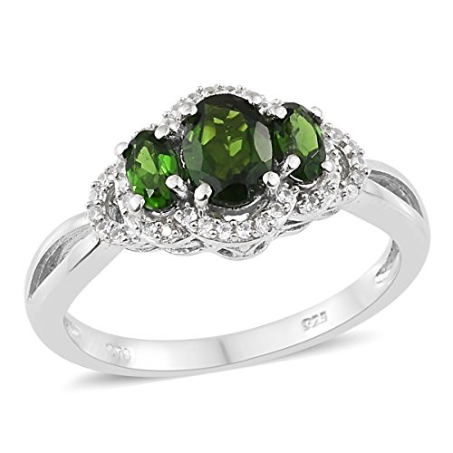 925 Sterling Silver Platinum Plated 1.3 Cttw Oval Chrome Diopside, Multi Gemstone Gift Ring Size 8 - Designer Diopside Ring
