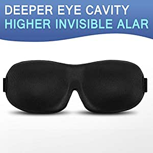3D Sleep Eye Mask Sleepfun Ultra Invisible Nose Alar Shade Contoured Soft Eye Cover Soft Comfortable Mask for Full Night's Comfortable Sleep Ultimate Sleeping Aid, Blindfold, Eyeshade, Eyepatch, Blocks Light (Black)