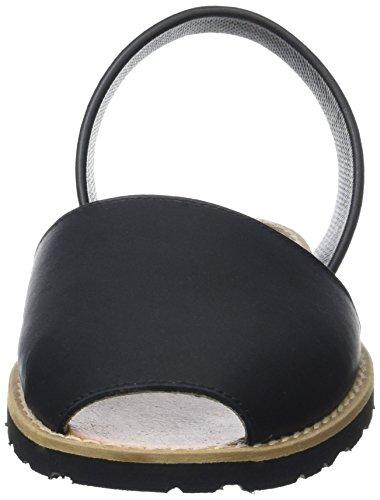 Minorquines Avarca - Sandalias de Talón Abierto Mujer Negro (Negro)