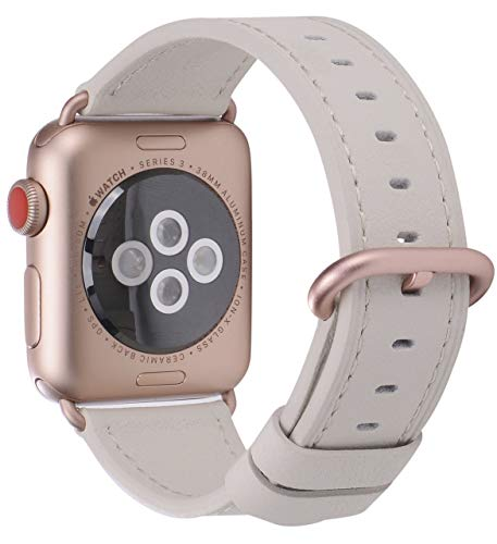 PEAK ZHANG Compatible with Apple Watch Band 42mm/44mm Women Men Leather Replacement Strap with Series 4/3 Rose Gold Clasp for iWatch Series 4,3,2,1(Off White,42mm 44mm - Series 0620