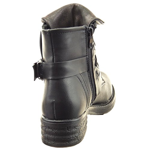 Sopily - damen Mode Schuhe Stiefeletten Biker Nieten - besetzt Reißverschluss - Schwarz