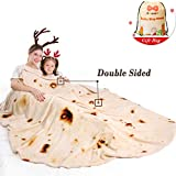 mermaker Burritos Blanket 2.0 Double Sided for Adult and Kids, Novelty Tortilla Throw Blanket Adult 71 inches, Realistic Soft Flannel Taco Blanket (Yellow Blanket-4)