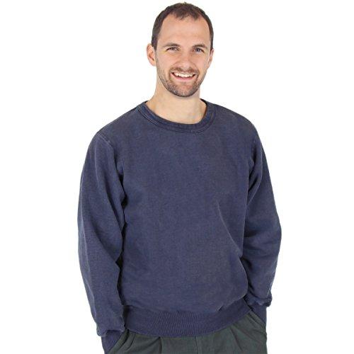 - CottonMill Men's 100% Cotton Crew Sweatshirt - 20oz Heavy Weight (Large, Navy Sand)