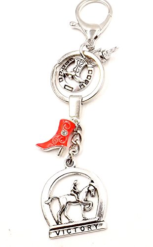 [Equestrian Horse Rider Boot - Southwestern Keychain Purse Bag Charm Fob Pocketbook Accessory] (Horse Costume Class)
