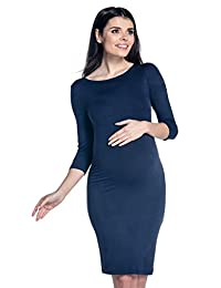 Zeta Ville - Maternity Womens Pregnancy Bodycon Dress - Boat Neckline - 064c
