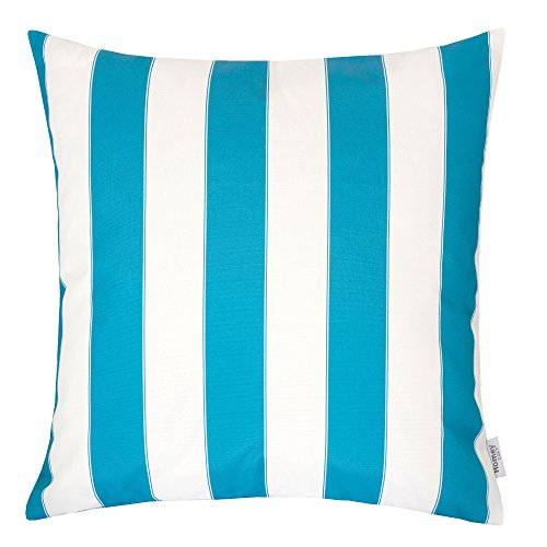 Homey Cozy Outdoor Throw Pillow Cover, Classic Stripe Aqua Blue Large Pillow Cushion Water/UV Fade/Stain-Resistance For Patio Lawn Couch Sofa Lounge 20x20, Cover Only