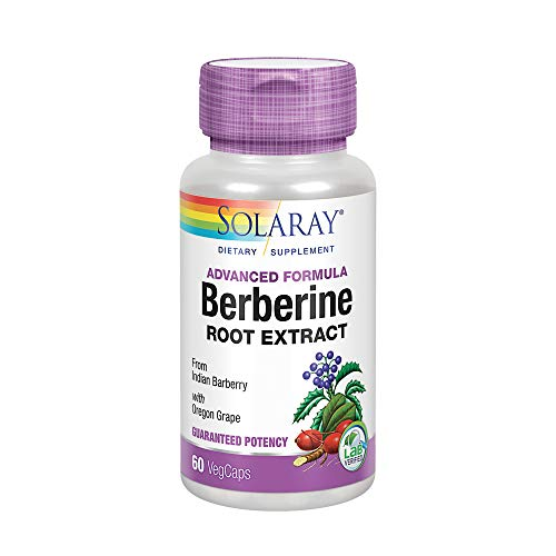 Solaray Berberine Root Extract Advanced Formula | Indian Barberry w/ Oregon Grape | AMPK Activator | Immune, Digestion & Metabolism Support | 60ct