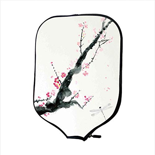 iPrint Neoprene Pickleball Paddle Racket Cover Case,Dragonfly,Branch of a Pink Cherry Blossom Sakura Tree Bud and A Dragonfly Dramatic Artisan,Pink Black,Fit for Most Rackets - Protect Your Paddle ()