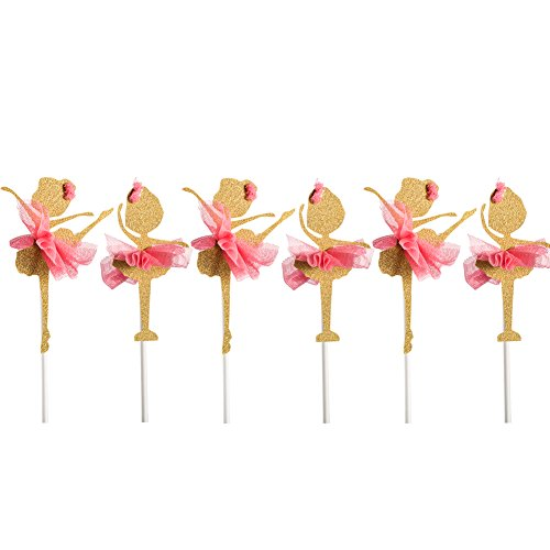 Qteland Fairy Dancer Cupcake Toppers 6PCS Decorations for Baby Showers Picnic Themed wedding Birthday Party Favors for (Easy Halloween Cupcake Decorating Ideas)